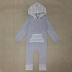 Grey with Striped Hood Romper