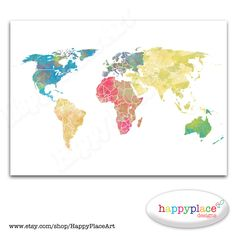 HUGE Custom World Map  Printable Image with  by HappyPlaceArt, $35.00