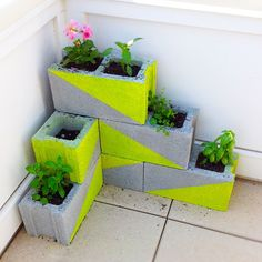 CMU + neon spray paint = a new planter to brighten up our patio (need one more plant!)
