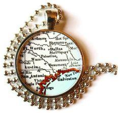 Texas map charm, Texas Jewelry map necklace pendant, Austin, Houston, San Antonio, Dallas, Fort Worth