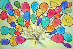 Niña con globos de cosas positivas