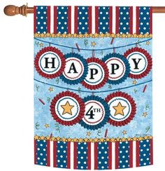 NEW Toland - Happy Fourth - Patriotic USA America Double Sided House Flag #TolandHomeGarden