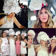 The Cristina Re girls in their hand crafted Paper Couture hanging out in Yellowglen house for Oaks Day