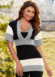 venus grey multi color blocked sweater style y3770