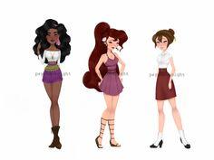 Modern Disney Princess Esmerelda, Megara & Jane by Psycho-Knight on DeviantArt