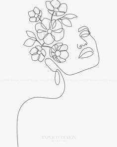 Dreamy Girl Bloom Art Print by Explicit Design #tattoos #simpletattoos #tattoo Contour Drawing, Cat Drawing, Human Drawing, Drawing Face Expressions, Single Line Drawing, Outline Art, Minimalist Drawing, Art Drawings Sketches, Pencil Drawings