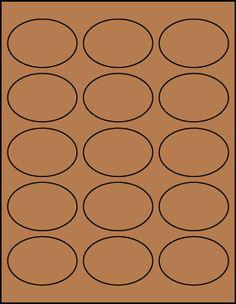 """2.5"""" x 1.75"""" Oval Brown Kraft label sheet from #www.KraftOutlet.com $.89 per sheet"""