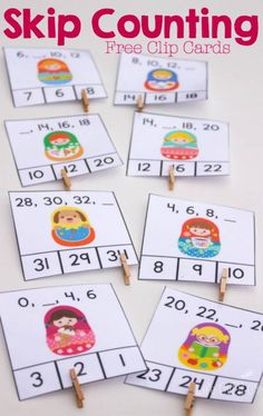 These super cute matryoshka free printable skip counting clip cards are a great… Math Classroom, Kindergarten Math, Teaching Math, Math Resources, Math Activities, Skip Counting Activities, Math Games, Math Stations, Math Centers