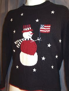 An ugly sweater....that has Christmas AND 4th of July? Perfect.