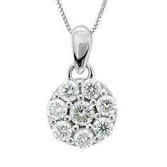 14k White Gold Circle Cluster Diamond Pendant Necklace 095 Carat * To view further for this item, visit the image link.Note:It is affiliate link to Amazon.