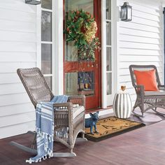 House Tour-A Coastal Dream on A River in Cohasset Outdoor Fabric, Outdoor Chairs, Outdoor Furniture, Outdoor Decor, Beautiful Beach Houses, New England Homes, Luxury Home Decor, Rocking Chair, Front Porch