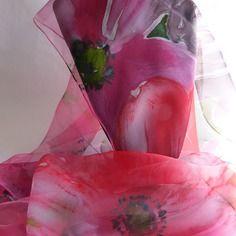 """Etole écharpe foulard en mousseline de soie peint main fleuri """" rouge…"""