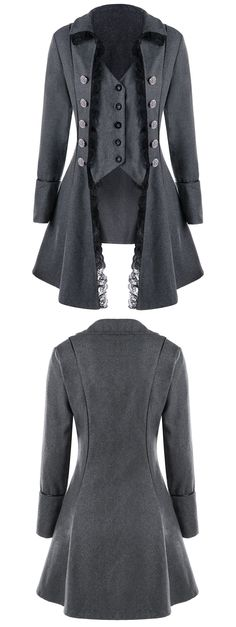 #Fall&#Winter #Trends Only $16.40 | Lace Trim Button Up Tailcoat  | Sammydress.com