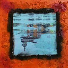 Reflejos. Foto: Lisboa, 2006 Composición sobre lienzo: Acrílico y collage. 30x30cm. Maite Sanz de Galdeano, 2015