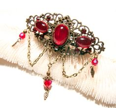 Barrette féerique bronze, verre, perles de Bohême et cristal