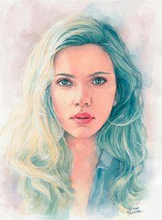 Scarlett Johansson watercolor by Trunnec on DeviantArt