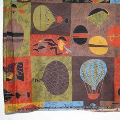"Vtg 50s GOING UP Laura Jean Allen Assoc American Artists Cotton Fabric 36""x5yds"