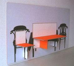 Wall paintings with integrated seats and table