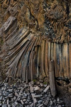 Giant twisting forces shown in basalt column pattern near Aldeyjarfoss in northern Iceland.