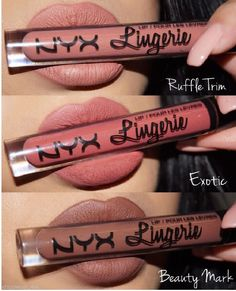 NYX Lip Lingerie Matte Liquid Lipstick Waterproof Lipgloss Makeup 12 Shades UK - Beauty - Make Up Products Lip Gloss Colors, Matte Lip Color, Lipstick Colors, Lip Colors, Lipstick For Pale Skin, Natural Lipstick, Nyx Cosmetics Lipstick, Nyx Makeup, Skin Makeup