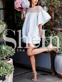 White Bell Sleeve Eyelet Shift Dress 14.99