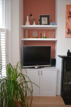 Alcove Cupboard and Shelves Alcove Shelving, Alcove Cupboards, Built In Cabinets, Tv Cabinets, Living Room Shelves, New Living Room, Home And Living, Home And Family, Modern Living