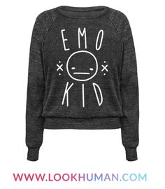 """Show off your emo style with this emo design featuring the text """"Emo Kid"""" with an apathetic smiley face. Perfect for an emo girl, emo boys, emo kid, sad girl quotes, funny emo, and a sassy emo or sarcastic emo!"""
