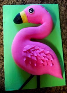 The Flamingo Cake - Carved pink flamingo birthday cake, for my 4yr old niece's party.