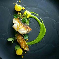 Sea bass, watercress, braised endive, saffron and citrus condiments by Nicobass lavie