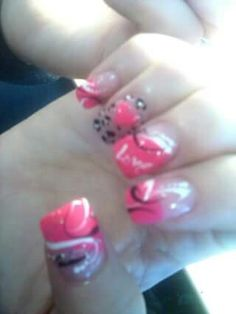 My nails from girls day out with Courtney and kita... Beautiful valentines day design courtesy of Tina at natural nails