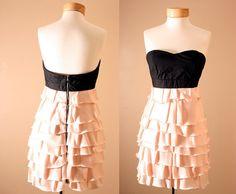Statement Dress - Corset, Strapless, Black, Dusty Pink, Princess, Ruffle, Tiered, Dress, Peach, Bustier (S,M,L)