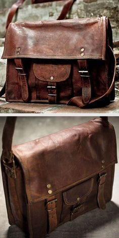 Leather satchel - have seen just the thing at High Tide in Howick in brown, black, green or red. Just need to decide on a colour! Leather Satchel, Leather Totes, Leather Bags, Leather Purses, Style Steampunk, Leather Men, Vintage Leather, Leather Working, Mens Fashion