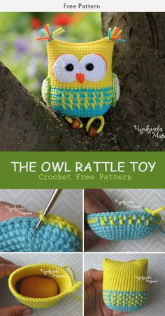 This The Owl Rattle Toy Crochet Free Pattern is a great baby gift and is a very crochet. Make one now with the free pattern provided by the link below. The Owl Rattle Toy Crochet Free Pattern Crochet Easter, Crochet Owls, Crochet Crafts, Cute Crochet, Crochet Baby, Crochet Projects, Knitted Baby, Knitted Dolls, Crochet Animals