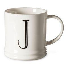 Monogrammed Porcelain Mug 15oz White with Black Letter J - Threshold, Black White