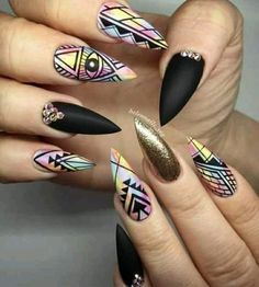 Stilettos nails are somehow resembling almond nail shape. A fair share of marvelous stiletto nails designs to get inspired with and to make your life brighter than ever! Fancy Nails, Love Nails, Trendy Nails, Nagellack Design, Stiletto Nail Art, Acrylic Nails, Marble Nails, 3d Nails, Coffin Nails