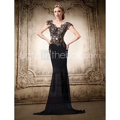 Formal Evening Dress Trumpet/Mermaid V-neck Floor-length Chiffon/Lace Women Prom Dress - USD $179.99