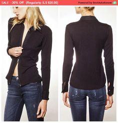 Sale Black Cardigan Zipper Shirt Business by BRANTattire Womens Fashion For Work, Work Fashion, Black Cardigan, Black Blouse, Cardigans For Women, Women's Cardigans, Collars For Women, Sexy Shirts, Comfy Clothes