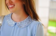 Brooke du jour | Forever21 blue Peter Pan collared blouse