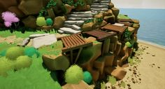 Andrew Weir talked about his experiments with stylised rendering in Unreal Engine He wanted to the level to look similar to The Witness and Firewatch. Unreal Engine, Outdoor Furniture Sets, Outdoor Decor, Environment Design, Epic Games, Zbrush, Game Design, Adobe Photoshop, Engineering