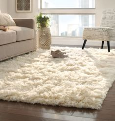 Major fluffy softness going on here. Cant get enough of a New Zealand wool rug. Its softness comes from being washed in the waterfalls of the Pindus Mountains. Great for nurseries, living rooms and bedrooms, this hand-woven flokati rug is not only fee Living Room White, Boho Living Room, White Rooms, Living Room Decor, Bedroom Decor, Living Rooms, Bedroom Carpet, Living Room Carpet, Living Room Furniture