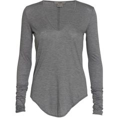 Helmut Lang Round neck long sleeve T-shirt (320 BRL) ❤ liked on Polyvore featuring tops, t-shirts, shirts, sweaters, long sleeves, blusas, greymelange, modal t shirts, jersey t shirt and long sleeve tee