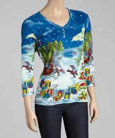 Look at this Blue Sleigh Scene Button-Front Tee - Women on #zulily today!