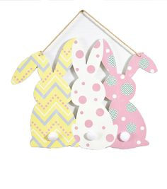 Patterned Easter Bunnies Wall Decor