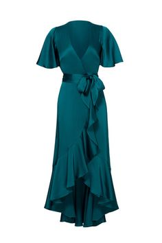 Temperley London Green Women's Size 8 Ruffle High Low Wrap Dress - for sale online Pretty Dresses, Beautiful Dresses, Temperley London Dress, Rent The Runway, Holiday Party Dresses, Green Satin, Blue Green, Evening Dresses, 1950s Dresses