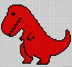 """T-Rex cross stitch pattern. This image goes with """"If your happy and you know it. Kids Knitting Patterns, Knitting Charts, Baby Knitting, Cross Stitch Charts, Cross Stitch Designs, Cross Stitch Patterns, Hama Beads Patterns, Beading Patterns, Cross Stitching"""