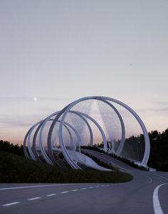 Penda diseña este puente en Beijing inspirándose en los anillos olímpicos