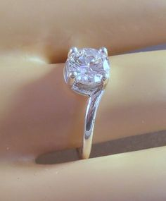 Engagement Ring Promise Rhodium Cubic Zirconia by LynnHislopJewels