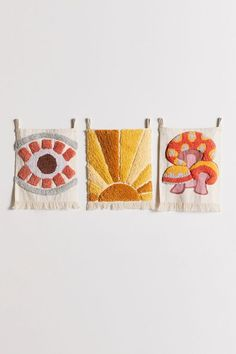 Shop Mini Tufted Flag Tapestry at Urban Outfitters today. Arte Punch, Mini Flags, Punch Needle Patterns, Rug Hooking, Yarn Crafts, Fiber Art, Weaving, Arts And Crafts, Texture