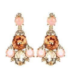 OSCAR DE LA RENTA - Crystal-embellished earrings - Oscar de la Renta's glistening earrings will add an opulent finish to any look they're paired with. Crafted in a striking drop design, this pair have a mixture of clear and peach crystals as well as pink beads for an engaging style you'll return to again and again. - @ www.mytheresa.com
