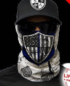 Blue Strong Multi Purpose Face Shield Balaclava Bandana Neck Gaiter Sun Mask Neckerchief by VaderUnlimited on Etsy